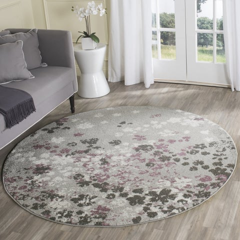 Safavieh Adirondack Marisol Floral Light Grey / Purple Rug - 4' x 4' Round