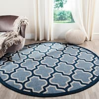 Safavieh Amherst Indoor/ Outdoor Light Blue/ Navy Rug - 5' Round