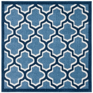Safavieh Amherst Indoor/ Outdoor Light Blue/ Navy Rug (5' Square)