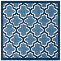 Safavieh Amherst Indoor/ Outdoor Light Blue/ Navy Rug - 5' Square