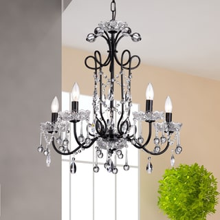 Maldita Black-finish 25-inch Crystal Chandelier