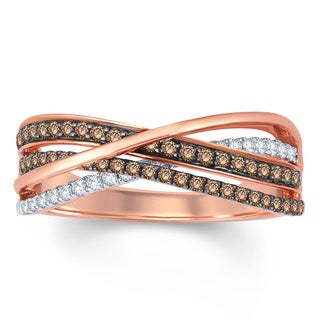 10k Rose Gold 1/2ct TDW Champagne Diamond Bypass Fashion Ring