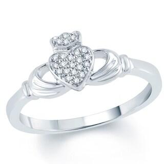 10k White Gold 1/10ct TDW Diamond Claddagh Ring (I-J, I1-I2)