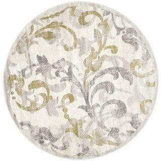Safavieh Amherst Orpha Modern Indoor/ Outdoor Rug (5 x 5 Round - Ivory/Light Grey)
