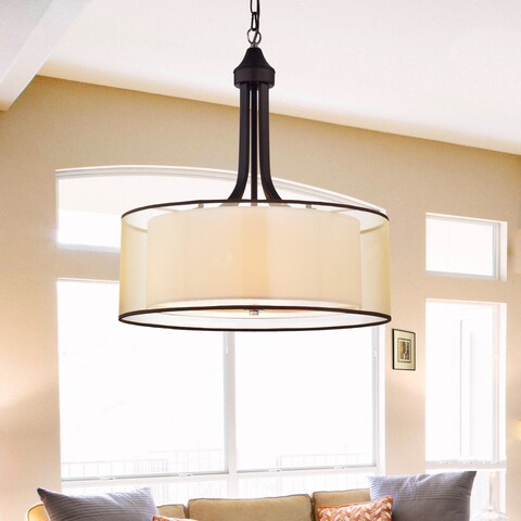 Copper Grove Shoshone Antique Bronze with Off-white Fabric Shade