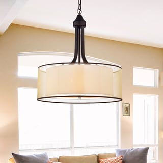 Taylor Antique Bronze with Off-white Fabric Shade 20-inch Pendant Lamp
