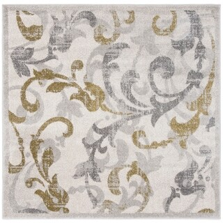 Safavieh Amherst Indoor/ Outdoor Ivory/ Light Grey Rug (9' Square)