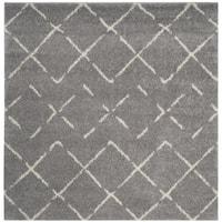 Safavieh Arizona Shag Southwestern Grey/ Ivory Shag Rug - 7' Square