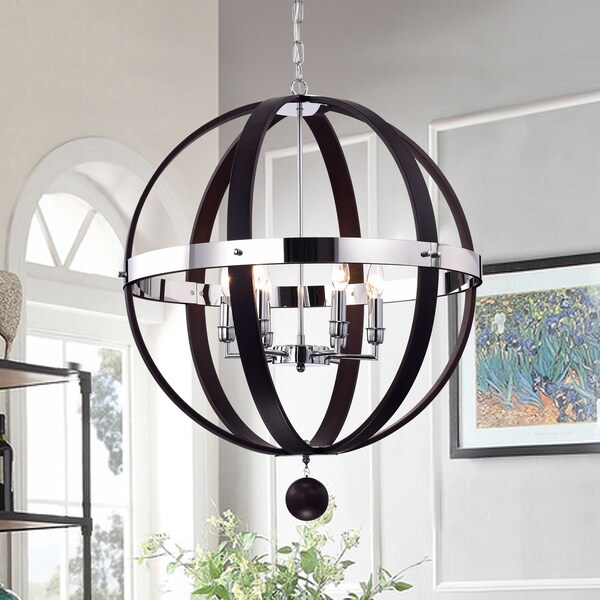 Nisa Brown Metal and Chrome 25-inch Round Chandelier