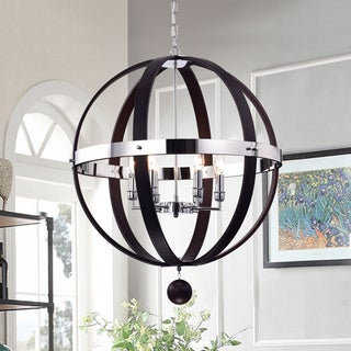 Nisa Brown Wood and Chrome 25-inch Round Chandelier