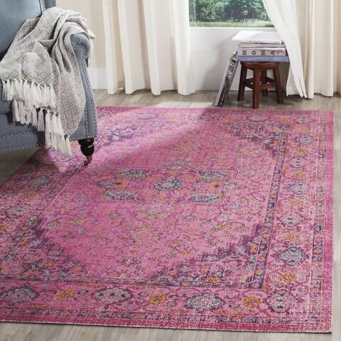 "Safavieh Artisan Vintage Bohemian Fuchsia Pink Distressed Rug - 6'7"" x 6'7"" Square"