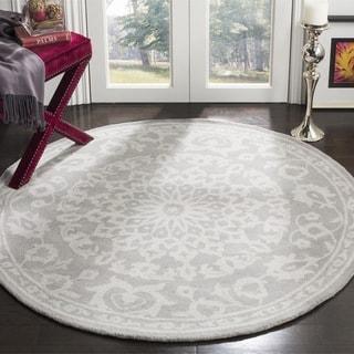 Safavieh Bella Contemporary Handmade Grey/ Silver Wool Rug (3' Round)