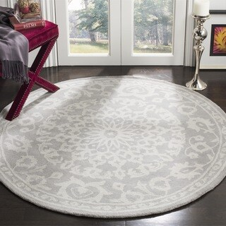 Safavieh Bella Contemporary Handmade Grey/ Silver Wool Rug - 3' Round