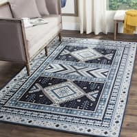 Safavieh Classic Southwestern Bohemian Navy/ Light Blue Cotton Rug - 6' Square