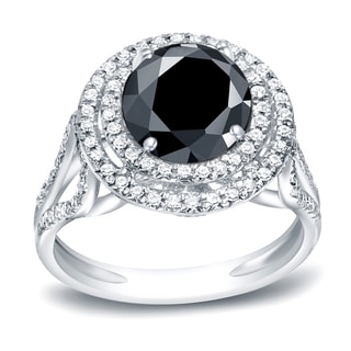 Auriya Platinum 2ct TDW Round Cut Black Diamond Double Halo Engagement Ring