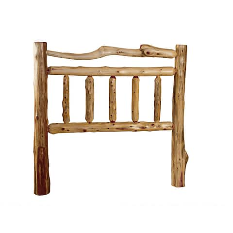 Rustic Red Cedar Log Double Top Rail Headboard Only - Amish Made USA