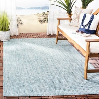 Safavieh Indoor/ Outdoor Courtyard Chevron Aqua/ Grey Rug (6' 7 Square)