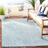 Safavieh Indoor/ Outdoor Courtyard Chevron Aqua/ Grey Rug - 6' 7 Square