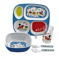 Gaia Group World of Mary Blair Multicolor Melamine 5-piece Children's Train Dinnerware Gift Set