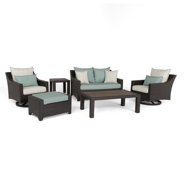 Deco Spa Blue 6-Piece Loveseat and Deluxe Motion Club Chair Set by RST  Brands - Shop Deco Spa Blue 6-Piece Loveseat And Deluxe Motion Club Chair Set