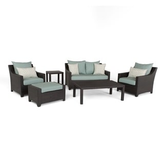 Link to Deco Spa Blue 6-Piece Outdoor Patio Loveseat and Club Chair Set by RST Brands Similar Items in Outdoor Loveseat