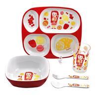 Juice Girl Children's Multicolored Melamine 5-piece Dinnerware Gift Set