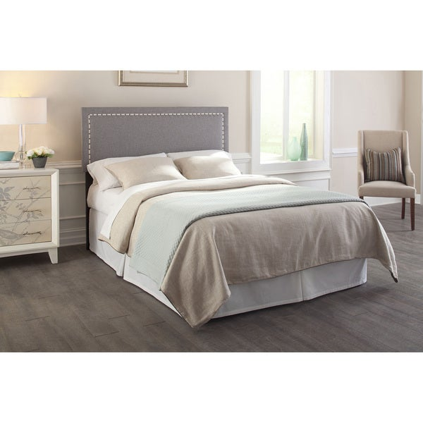Exceptional Wellford Upholstered Adjustable Headboard With Contrast Tape And Nailhead  Trim