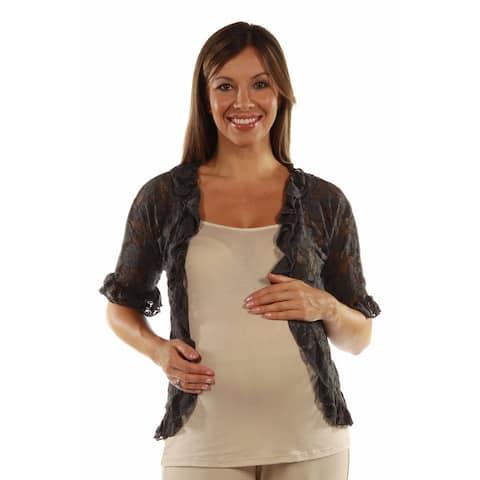 24/7 Comfort Apparel Women's Goddess Black Lace Maternity Bolero Cardigan Shrug