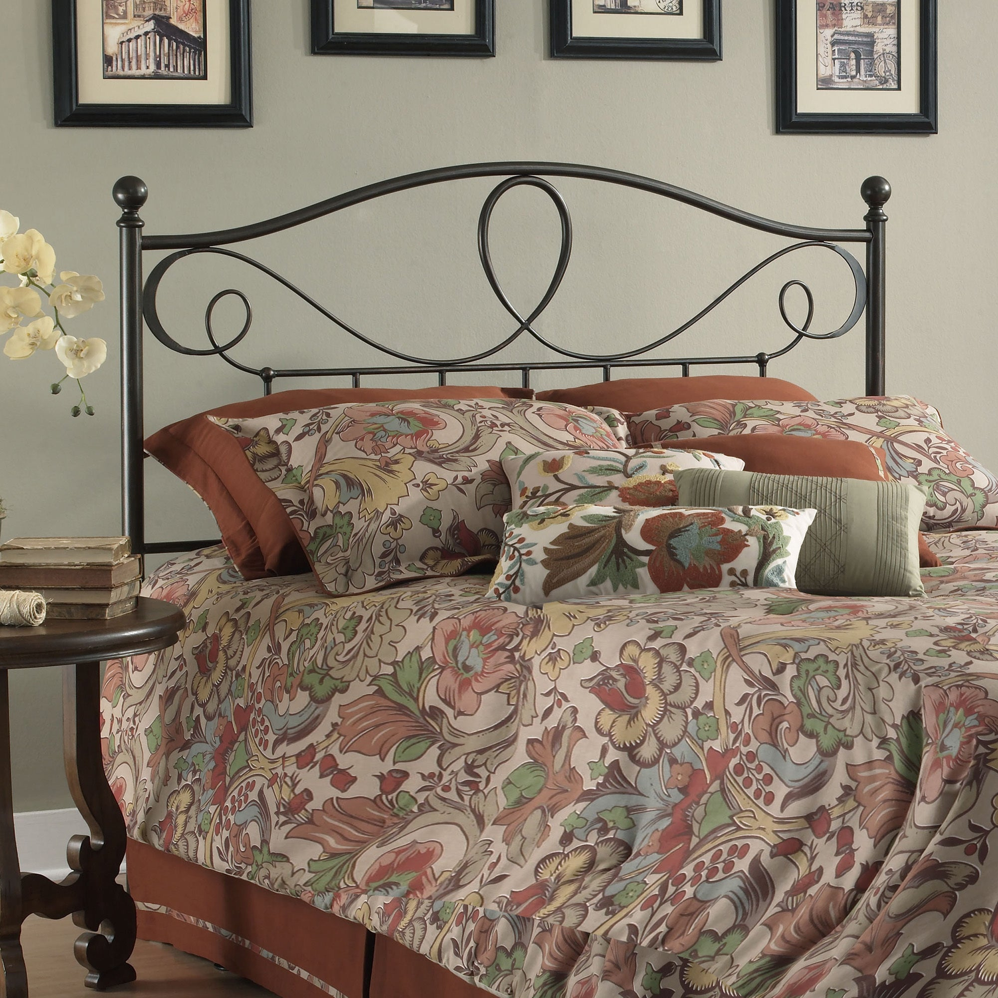 Fashion Bed Group Sylvania Metal Headboard with Curved Gr...