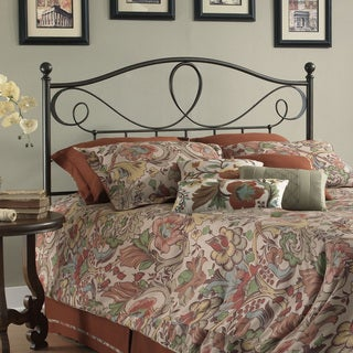 Sylvania Metal Headboard with Curved Grill Design and Finial Posts