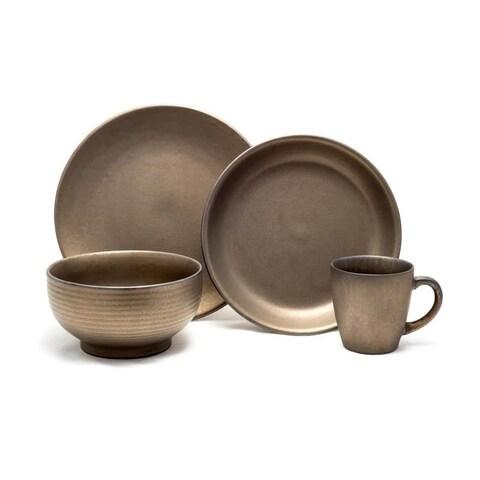 Gaia Group USA Teton Rubbed Gold-tone Ceramic 16-piece Dinnerware Set