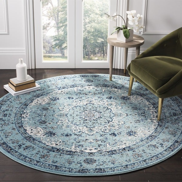 Safavieh Evoke Vintage Oriental Light and Dark Blue Distressed Rug (9' Round)
