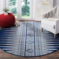 Safavieh Evoke Vintage Boho Chic Royal Blue/ Ivory Distressed Rug - 6' 7 Round