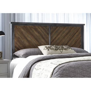 Braden Metal Headboard Panel With Reclaimed Wood Design Printed On Panels