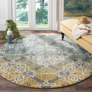 Safavieh Evoke Vintage Watercolor Damask Grey / Ivory Distressed Rug (6' 7 Round)