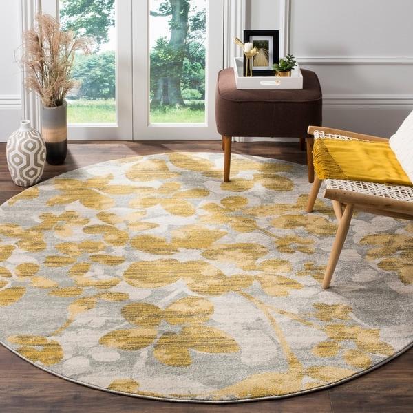 Safavieh Evoke Vintage Floral Grey / Gold Distressed Rug - 6' 7 Round