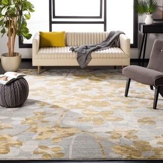Safavieh Evoke Vintage Floral Grey / Gold Distressed Rug (6' 7 Square)
