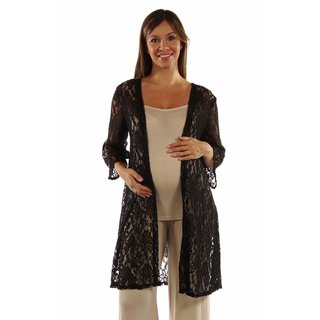 24/7 Comfort Apparel Women's Elegant Lace Maternity Cardigan Shrug