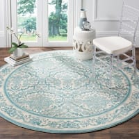 "Safavieh Evoke Vintage Oriental Ivory / Light Blue Distressed Rug - 6'7"" x 6'7"" round"