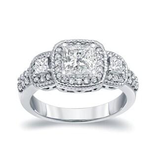Auriya Platinum 1 1/2ct TDW 3-Stone Diamond Engagement Ring (I-J, SI2-I1)
