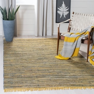 Safavieh Handmade Rag Rug Bookem Casual Stripe Cotton Rug with Fringe