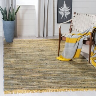 Safavieh Handmade Rag Rug Bookem Casual Stripe Cotton Rug with Fringe