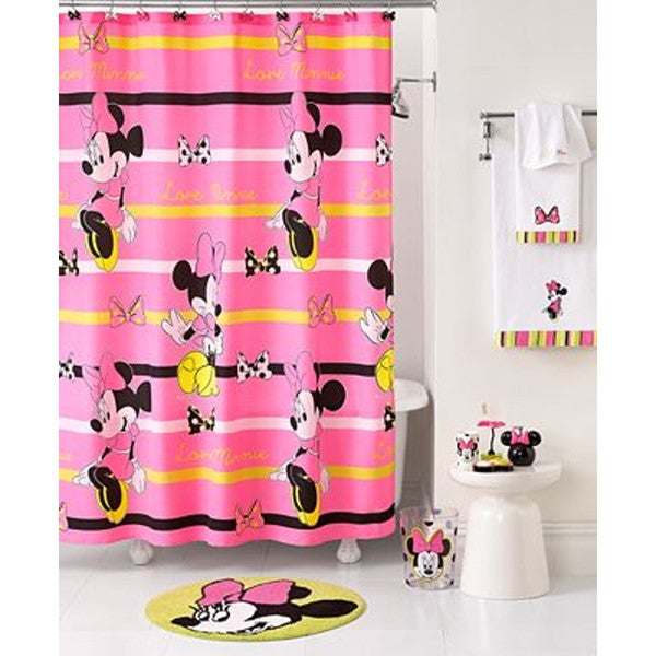 Shop Disney Minnie Mouse Neon Fabric Shower Curtain