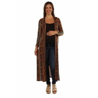 24/7 Comfort Apparel Women's Maternity Sized Rich Patterned Shrug Cardigan