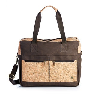 Handmade Cork and Brown Vegan Leather Laptop Briefcase (Colombia)