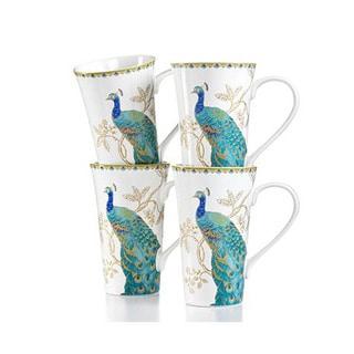 222 Fifth Peacock Garden Multicolor Porcelain Latte Mugs (Pack of 4)