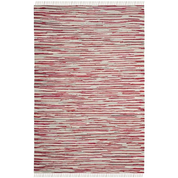 Shop Safavieh Hand-Woven Rag Cotton Rug Red/ Multicolored