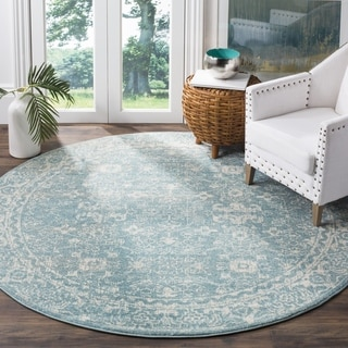 Safavieh Evoke Vintage Oriental Light Blue/ Ivory Distressed Rug (6' 7 Round)