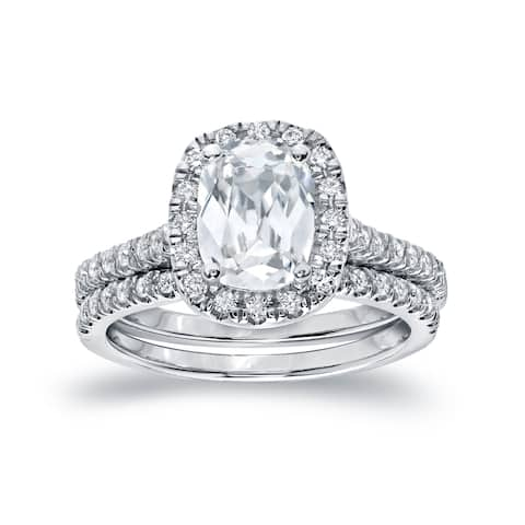 Auriya Platinum 2ctw Cushion-cut Halo Diamond Engagement Ring Set Certified