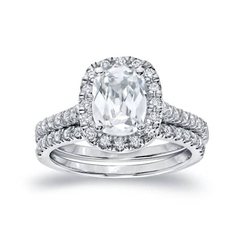 Auriya Platinum 2ctw Cushion-cut Halo Diamond Engagement Ring Set Certified